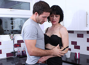 Hot British missus gets a fuck in her kitchen