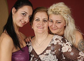 Three old and young lesbians making each other juicy