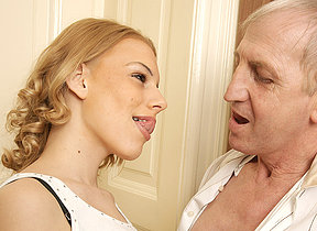 Horny old bastard doing a sexy babe