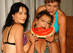 Three old and young lesbians getting juicy