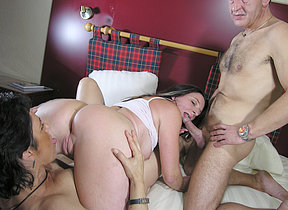 Two mature whores share one hard dick