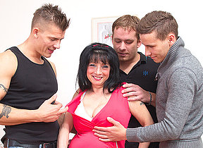 Big titted housewife taking on three guys