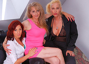 These three old and young lesbians share their hairy juicy pussies