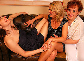 Three lesbian hostess getting juicy on the couch