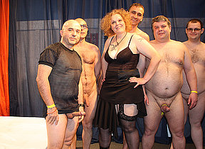 Kinky German missis in a crazy gangbang