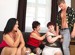Three naughty mature housewives sharing one hard dick