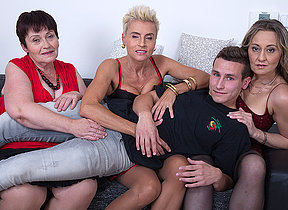 Three mature whores share one hard cock in a foursome