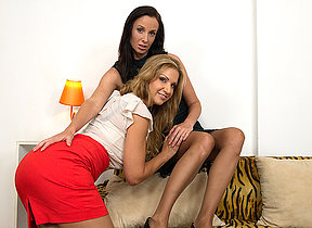 Two steamy MILFs going full lesbian on eachother