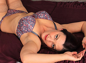 Naughty British housewife playing alone