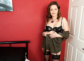 Naughty British missis playing with herself