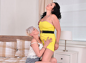 Two lesbian hostess play with eachothers pussy