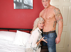 Naughty British missis fooling around with her younger lover