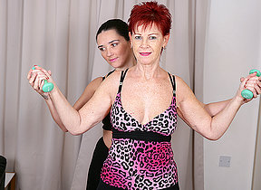 Two housewives excersize until they really break a sweat