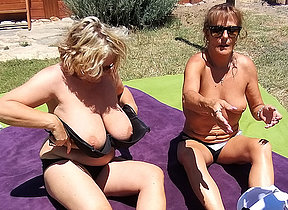 Two British housewives have hot lesbian sex during their vacation