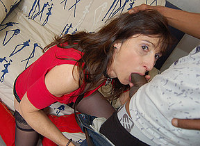 French Milf sucks a big black cock and takes it in her ass and vagina
