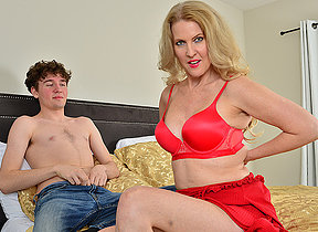 Blonde MILF Lacy B Cummings enjoys the big dick of her sons best friend