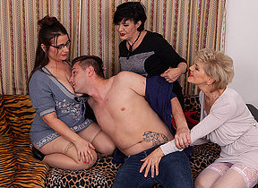 Three hot mature ladies share the young cleaners big dick